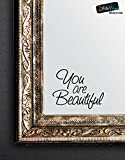 STICKERBRAND You are Beautiful Motivational Quote Wall Decals Sticker for Mirror, Windows or Walls Decoration Decor #6083s 6x8 (BLACK)
