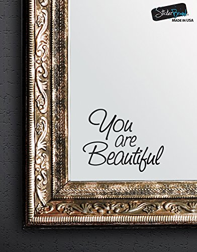 Bathroom Mirror Decor - Stickerbrand You are Beautiful Motivational Quote Wall Decals Sticker for Mirror, Windows or Walls Decoration Decor #6083s 6x8 (BLACK)