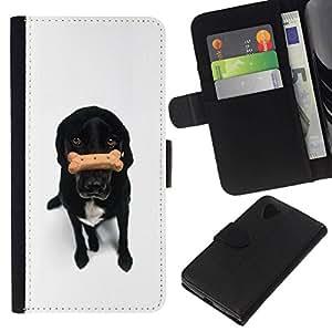 All Phone Most Case / Oferta Especial Cáscara Funda de cuero Monedero Cubierta de proteccion Caso / Wallet Case for LG Nexus 5 D820 D821 // Black Labrador Retriever Treat White Dog