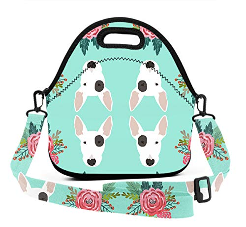 Premium Neoprene Thermal Insulated Bull Terrier Floral Flowers Lunch Bag Tote Bag, Reusable Outdoor Compact Lunchbox With Zipper Closure For Men And Women, Easy To -