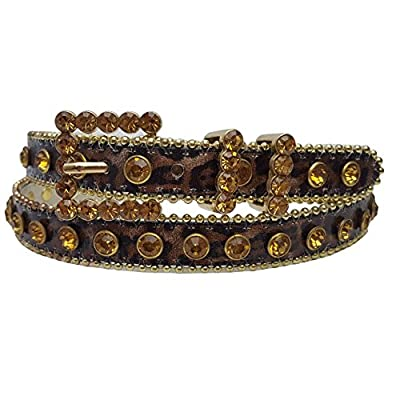 Skinning Western Rhinestone Belt in Animal Print with Real Crystals