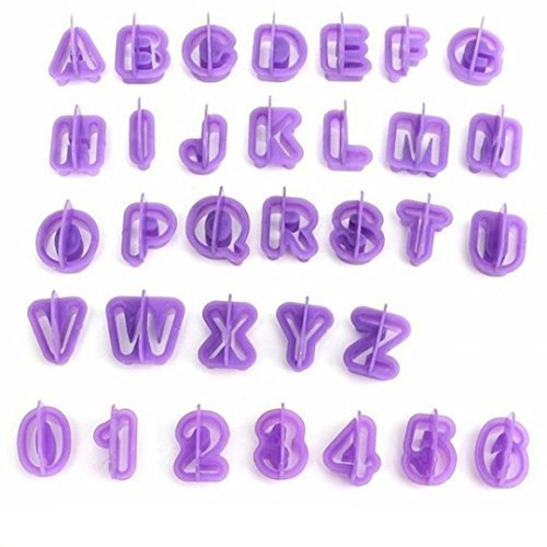 40 Pcs Alphabet Letter Number Fondant Cake Biscuit Baking Mould Cookie Cutters Purple