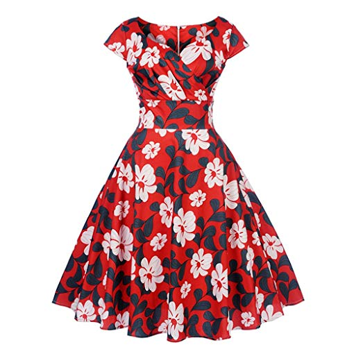 - TIFENNY Women's Vintage 1950s Retro Dresses Short Sleeve V-Neck Zipper Printing Party Prom Swing Dress Tops Red