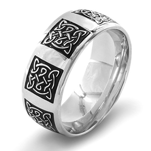 Men's Stainless Steel Traditional Celtic Knot Ring (9 mm) - Size 11