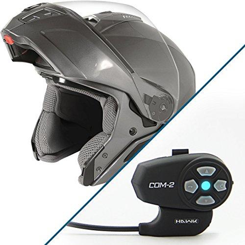(Hawk ST 11121 9GM FX Gun Metal Modular Helmet with Hawk COM-2 Bluetooth Interco - X-Large w/COM-2 Intercom)