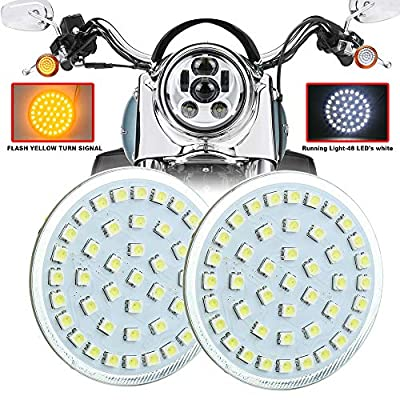 Akmties 1157 Bullet Turn Signal Light Flshing Signal Amber White Running Compatible with Motorcycle Sportster Street Glide Road King Softail 1 pair: Automotive