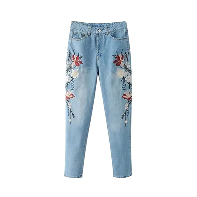 ishine Pantalones Vaqueros Mujer Pantalones Bordados Flores ...