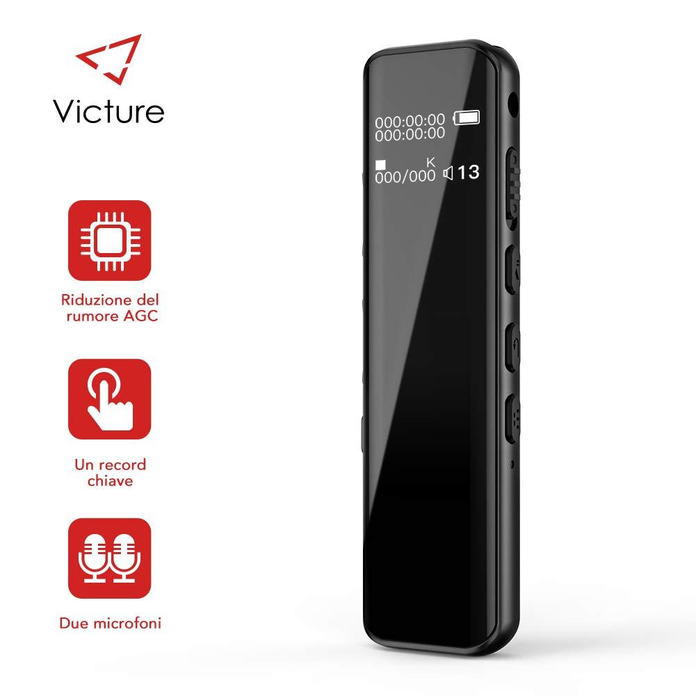 611c4f66 Victure Grabadora de Voz Digital Portátil, 8GB 1536kbps Ultra-HD Diseño de  Espejo Completo