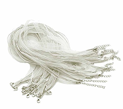 White Ribbon Necklace Cord - Rockin Beads Brand 15 Organza Ribbon with Waxen Cord Necklaces Lobster Clasp 17 Inch (White)