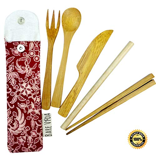 Bamboo Utensil Set in Slim Travel Pouch by Bare Vida - Premium Travel Cutlery Set With Bamboo Straw - Portable & For Traveling - Eco Friendly Gift - 100% Organic Bamboo Made in Bali