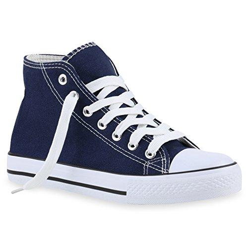 Sneaker Stiefelparadies Unisex Basic High Herren Damen Dunkelblau Flandell Übergrößen Axtax7rwn