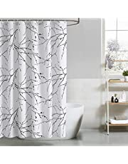 Bedsure Shower Curtain Fabric– Waterproof Shower Curtain with 12 Hooks, 72 x 72 Inches, Tree Branch
