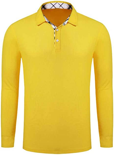 NISHIPANGZI Hombres Camiseta Polo Manga Larga Botón sólido ...