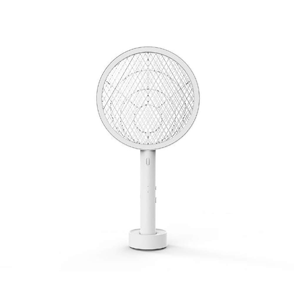 Mosquito killer ZMIN Electric Mosquito Swatter Stand-up Base Design Quickly Eliminate Residual Power LED Night Illumination USB Charging - White Or Pink (Color : White) by Mosquito killer
