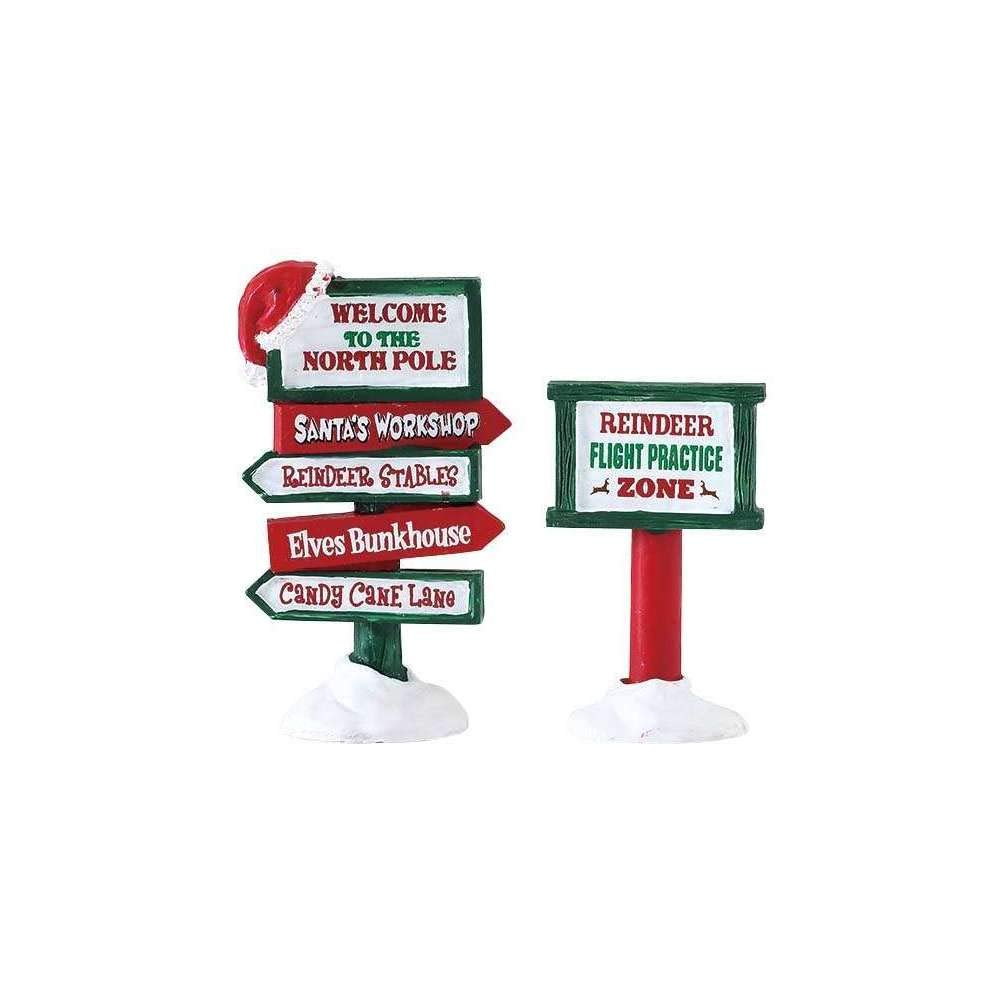 Lemax Village Collection North Pole Signs, Set of 2#74325
