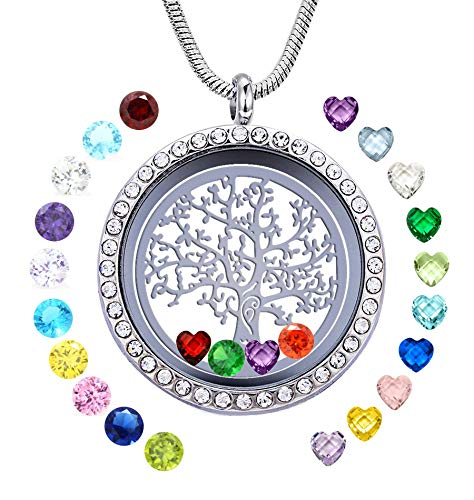 JOLIN Family Tree of Life Floating Charm Living Memory Lockets Necklace DIY Stainless Steel Pendant with 24 Birthstones