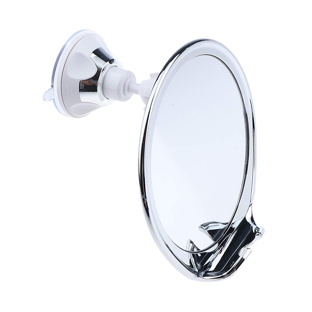 Fityle Fogless Bathroom Shower Mirror with Razor Hook for Anti Fog Shaving, 360 Degree Rotating, Powerful Lock Suction Cup for Home Travel