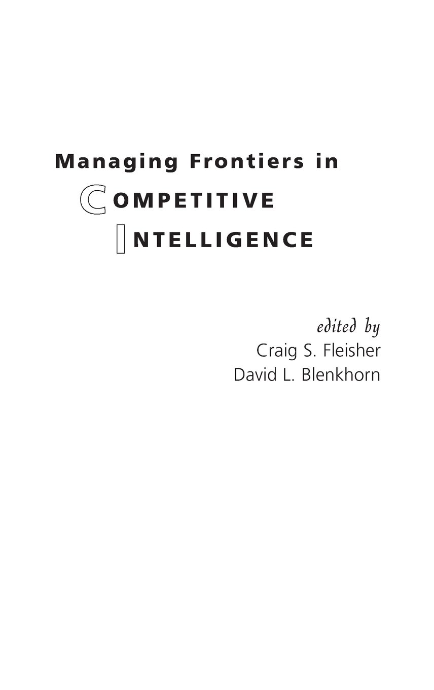 Download Managing Frontiers in Competitive Intelligence PDF