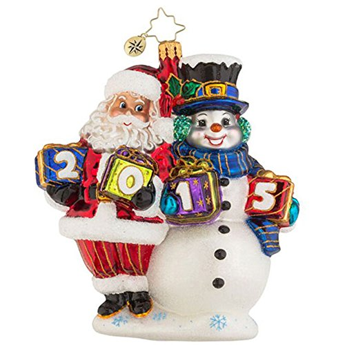 Christopher Radko 2015 Yearly Pals Santa/Snowman Glass Christmas Ornament - 5.5