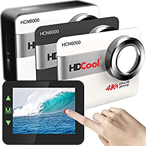 HDCool Action Camera 4K Ultra 20MP Touch Screen Wifi Waterproof Sports Camera 170 Degree Wide-Angle Lens for HCN6000, 2.31 Inch LCD Display Include 2 1200mAh Batteries