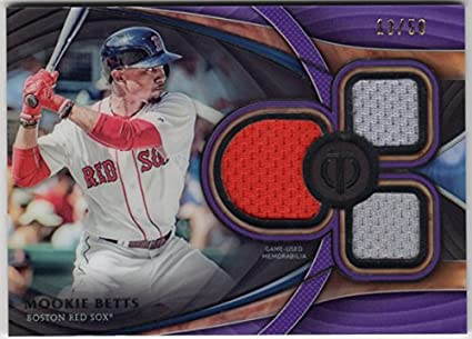 05ee9f06d76 Mookie Betts 2018 Topps Tribute Purple Triple Jersey Card Serial  13 50  Boston Red