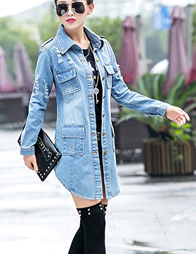 Tanming Women's Casual Lapel Slim Long Sleeve Denim Outercoat Jacket Windbreaker (Medium, Blue) by Tanming (Image #2)