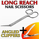 Medipaq Extra Long Toe Nail Chiropody Scissors Plus Mini Clippers - No More Reaching Or Straining! 1X Scissor + 1X Clipper