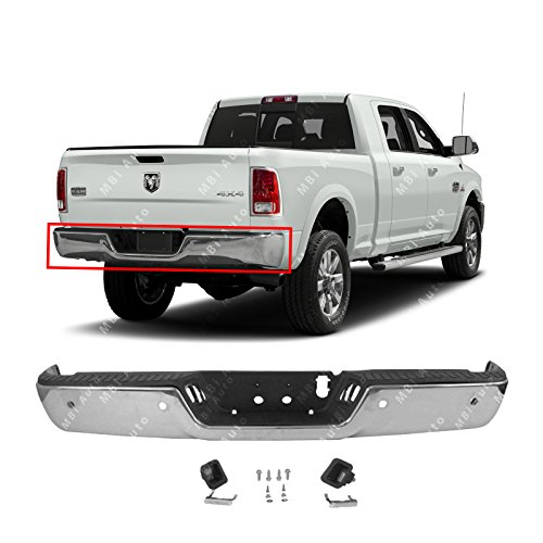 Rear Pickup Bumper Brackets - MBI AUTO - Chrome, Steel Rear Bumper Assembly for 2013-2018 RAM 2500 3500 Pickup W/Park 13-18, CH1103129