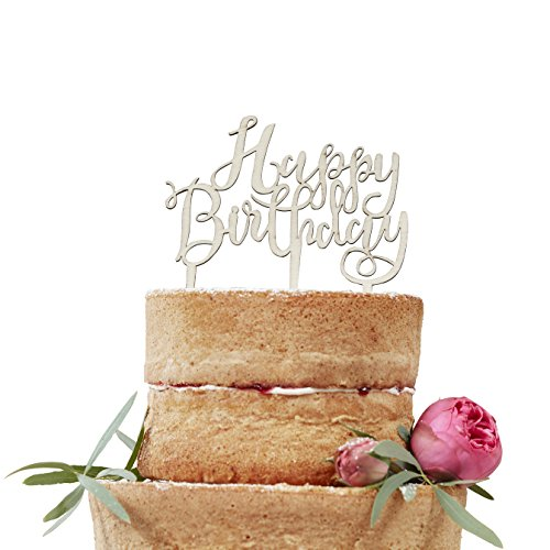Ginger Ray BH-762 Happy Birthday Boho Wooden Cake Topper Decoration, Brown by Ginger Ray (Image #2)