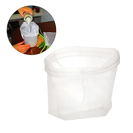 BESTONZON Bolsa de leche de nuez, bolsa de tamiz de alimentos de malla fina de nylon reutilizable, filtro de calidad alimentaria para leche de ...