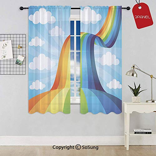 (Rainbow Road Clouds Abstract Cartoonish Expression Natural Events Ribbon Decorative Rod Pocket Sheer Voile Window Curtain Panels for Kids Room,Kitchen,Living Room & Bedroom,2 Panels,Each 42x63 Inch,S)