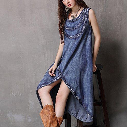 Maxi LHA82081 Denim Kleider Cocktail Ohne Arm Partykleid Damen Kleid Blau DISSA wXYxqd11