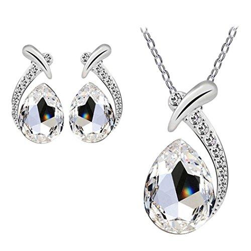 Choker Gemstone Set (Caopixx Jewelry Set, Women Crystal Pendant Silver Plated Chain Necklace Rhinestone Gemstone Stud Earring Sets (White, Alloy))