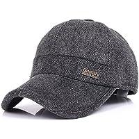 YAKER Men's Winter Warm Woolen Peaked Baseball Cap Hat with Earmuffs Metal Buckle