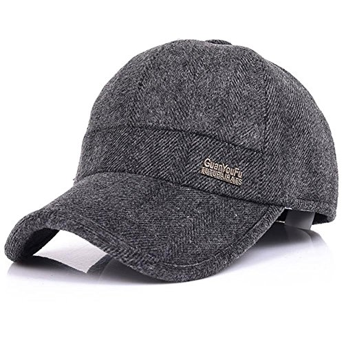 YAKER Men's Winter Warm Woolen Peaked Baseball Cap Hat with Earmuffs Metal Buckle (Grey) ()