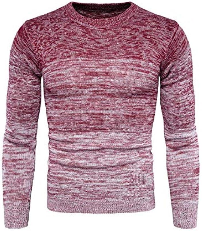 Męski sweter z okrągłym kołnierzem męski Nner Sweater gradient kolorÓw sweter z dzianiny jesień wygodny rozmiar zima długi rękaw sweter z dzianiny ubranie: Odzież