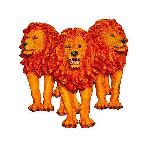 Escultura Trio Leões de Parede Orange Fullway - 89x87 cm
