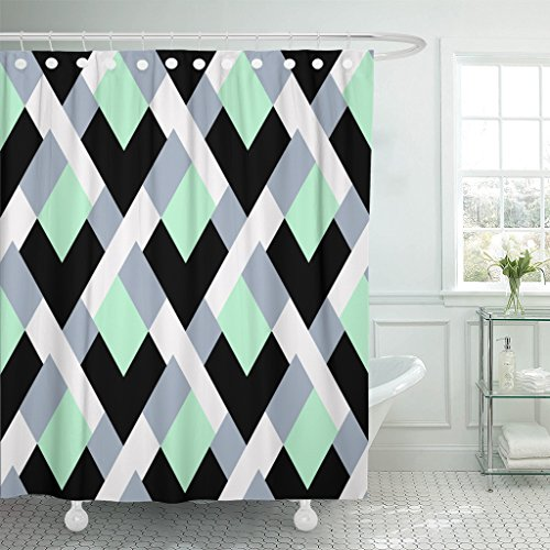 Breezat Shower Curtain Geometric with Bold Lines and Mosaic Tiles in Blue Grey Mint Green Pastel Color Modern Diamond Shape Waterproof Polyester Fabric 60 x 72 Inches Set with Hooks ()