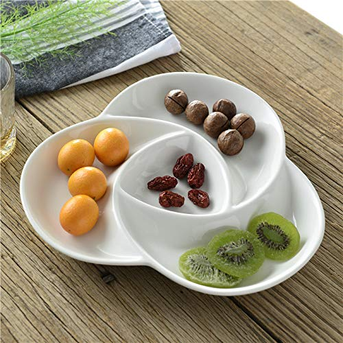 Wall of Dragon Spiral Ceramic Divided Plate Decorative Porcelain Assorted Serving Dish Tableware Dishware Receptacle for Candy, Fruit and Snack