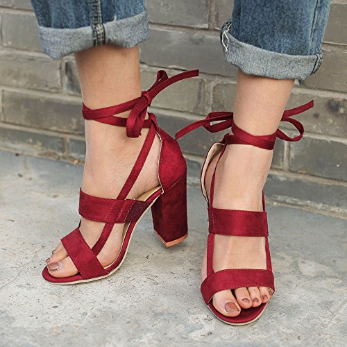 Sandali A Estate Casuale Minetom Vino Toe Beach Shoes Eleganti Peep Sandals A Scarpe Tacco Rosso Donna Blocco Moda Partito Ezz6qA14