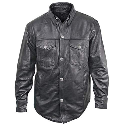 Jacket Shift Leather (Xelement XS908B Men's Black Leather Shirt with Buffalo Buttons - Black / Large)