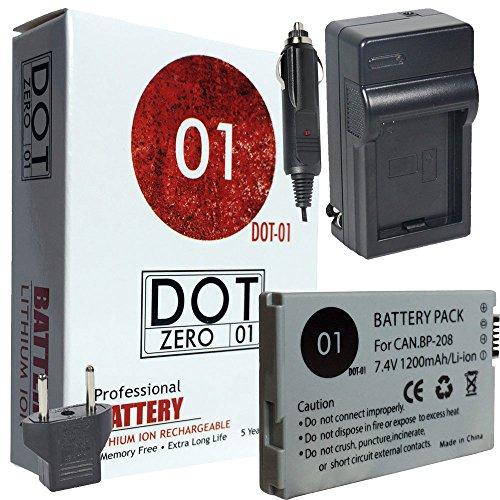 DOT-01 Brand 1200 mAh Replacement Canon BP-208 Battery an...