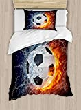 Big buy store Sports Decor Duvet Cover Set, Soccer Ball on Fire and Water Flame Splashing Thunder Lightning Abstract, Decorative 4 Piece Bedding Set with 2 Pillow Covers(Queen)