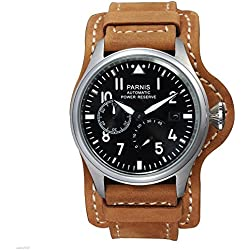 WhatsWatch 47mm Parnis Pilot Power Reserve Black Dial SEAGULL Automatic Men's Date Watch PA-0111180