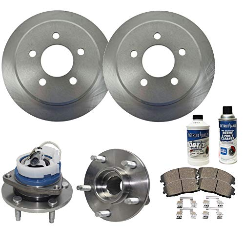 Detroit Axle - Both Front Wheel Bearing Hub Assemblies and Disc Brake Rotors w/Ceramic Pads w/Hardware & Brake Cleaner for 2006-11 Buick Lucerne V6 - [06-13 Chevy Impala] - [06-07 Monte Carlo] -