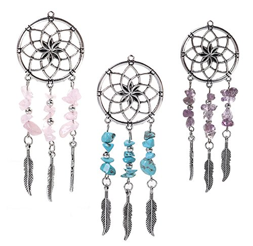(Dreamcatcher Pendants by JGFinds, 3 Pack - Pink, Green/Blue, Purple, Native American Inspired, 4 Inches Long)