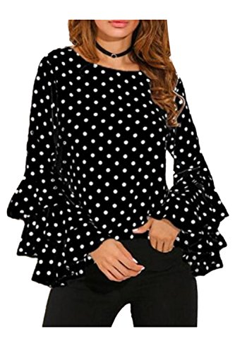 Polka Lunghe Impronta Camicia Dot Decorativo Camicette Donne A Vepodrau Prima Black Maniche Le xATY0