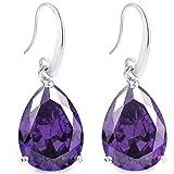 FC JORY Silver-Tone Full Cubic Zirconia Birthstone Tear Drop Dangle Earrings (Purple)