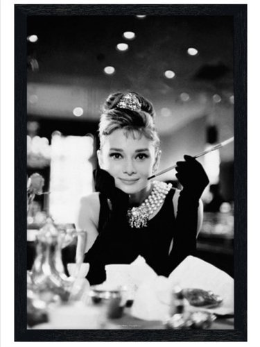 Black Wooden Framed Poster of Audrey Hepburn As Holly Golightly In Breakfast At Tiffanys 61x91.5cm by Audrey - Golightly At Home Holly