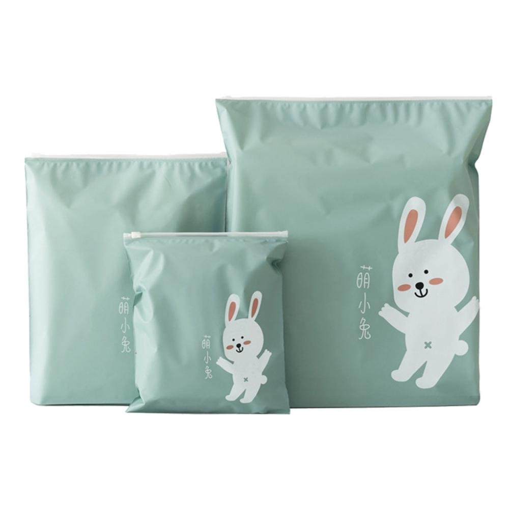 Dacawin Storage Bag-3 Pcs Travel Portable Storage Bags Cartoon Pattern Practical Waterproof Bags (Green)